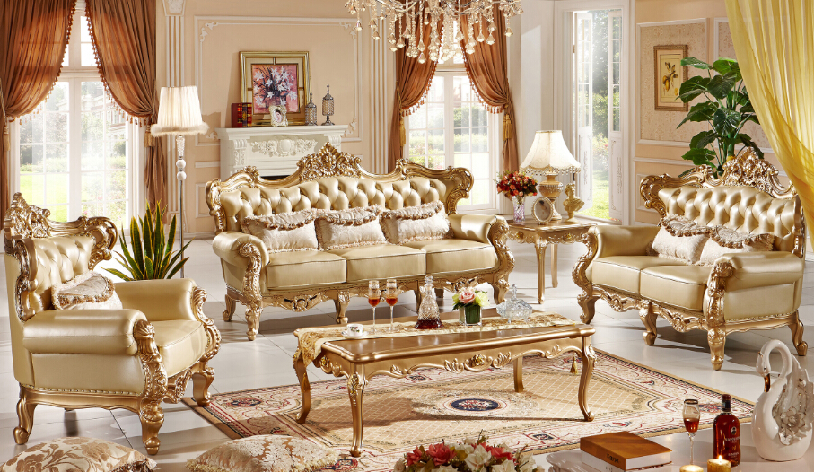 Classic Italian style luxury leather sofa set living room ...