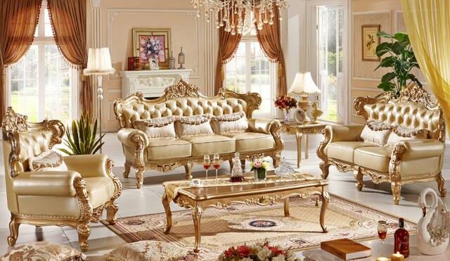 Classic Italian style luxury leather sofa set living room sofa furniture  0407