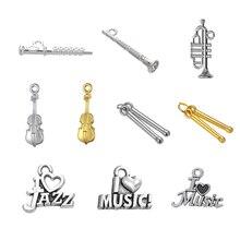 LIKGREAT музыкальный инструмент Подвески для изготовления ювелирных изделий I Love Music письмо кулон кларнет флейта скрипка барабанная палочка труба DIY