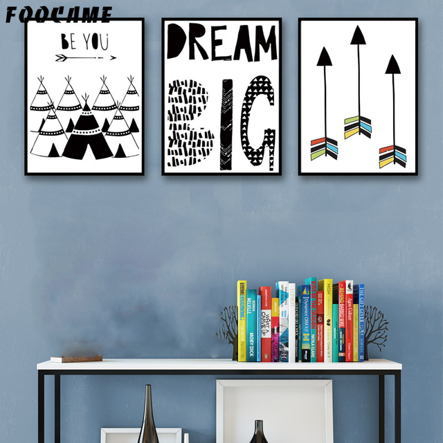 Foocame arrow letter tent black white posters and prints art canvas painting modern home decor wall