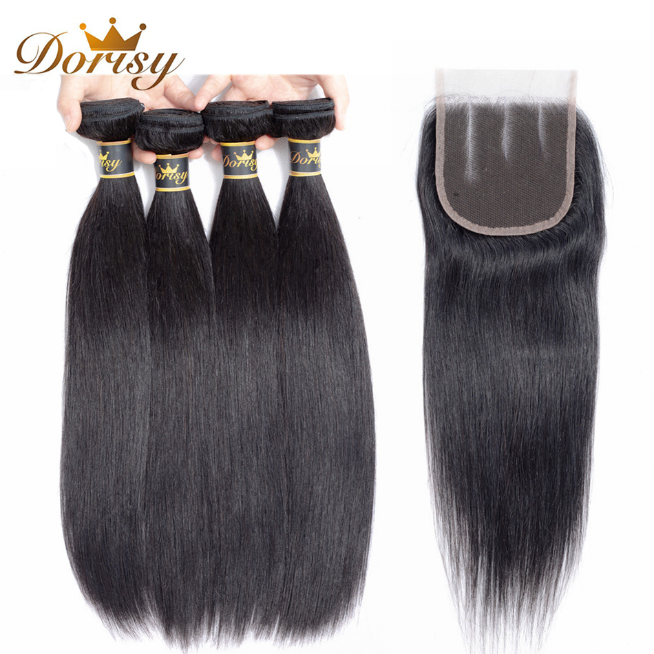 Dorisy Hair 5 Pcs Mongolian Straight 100% Human Hair Bundles With Closure Natural Color Non Remy Hair Extension Free Shipping