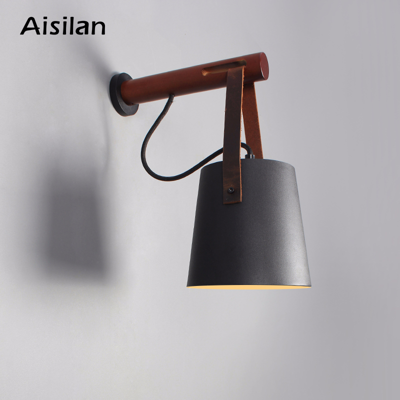 Aisilan Noirdic Modern style LED wall light wooden iron for bedroom corridor AC85 260v 4W warm white Wall Mounted in LED Indoor Wall Lamps from Lights Lighting