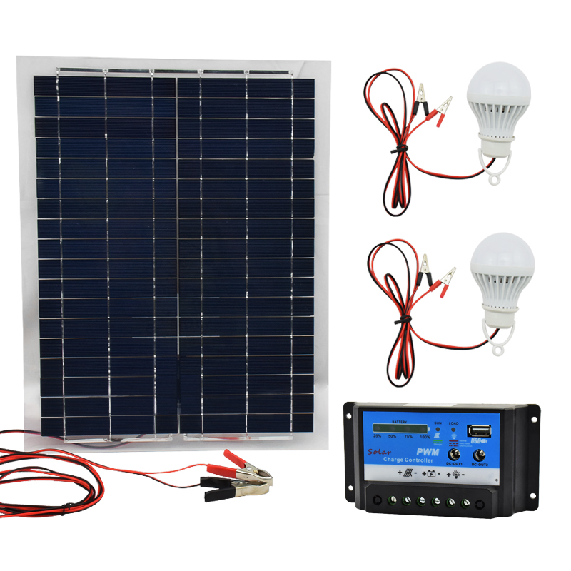 12V 20W Polysilicon Solar Panel with 10A Charger Controller and 2pcs Led Lamps Battery Charger flexible Solar Cells 100w 12v monocrystalline solar panel for 12v battery rv boat car home solar power