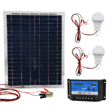 12V 20W Polysilicon Solar Panel with 10A Charger Controller and 2pcs Led Lamps Battery Charger flexible Solar Cells