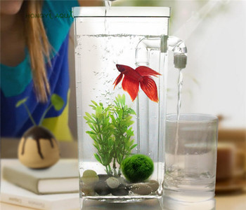 1 piece plastic lazy fish tank small aquarium mini goldfish bowl square fish tank round fish tank ecological fishbowl rransparen 1