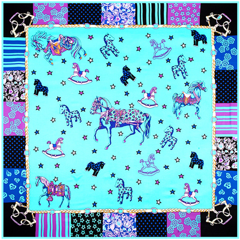 Luxury Brand Horse Twill 100% Silk Scarf For Ladies Square Scarf 2019 New Design Print Kerchief Woman Neck Shawl Wraps Echarpe
