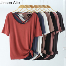 Jinsen Aite 2019 New Summer Fashion Hollow Out Sexy Women T Shirt Short Sleeve Casual Modal Plus Size Top Blusas Femininas JS793