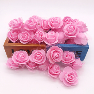 Image 4 - 100Pcs/lot Handmade PE Foam Rose Flowers Wedding Party Home Decor Accessories Artificial Craft Flower Head Wreath Supplies