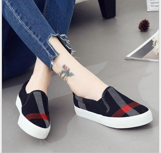 2017 Весна низкий Печатных холст обувь женщин досуг плоские туфли студенты ленивые бездельники