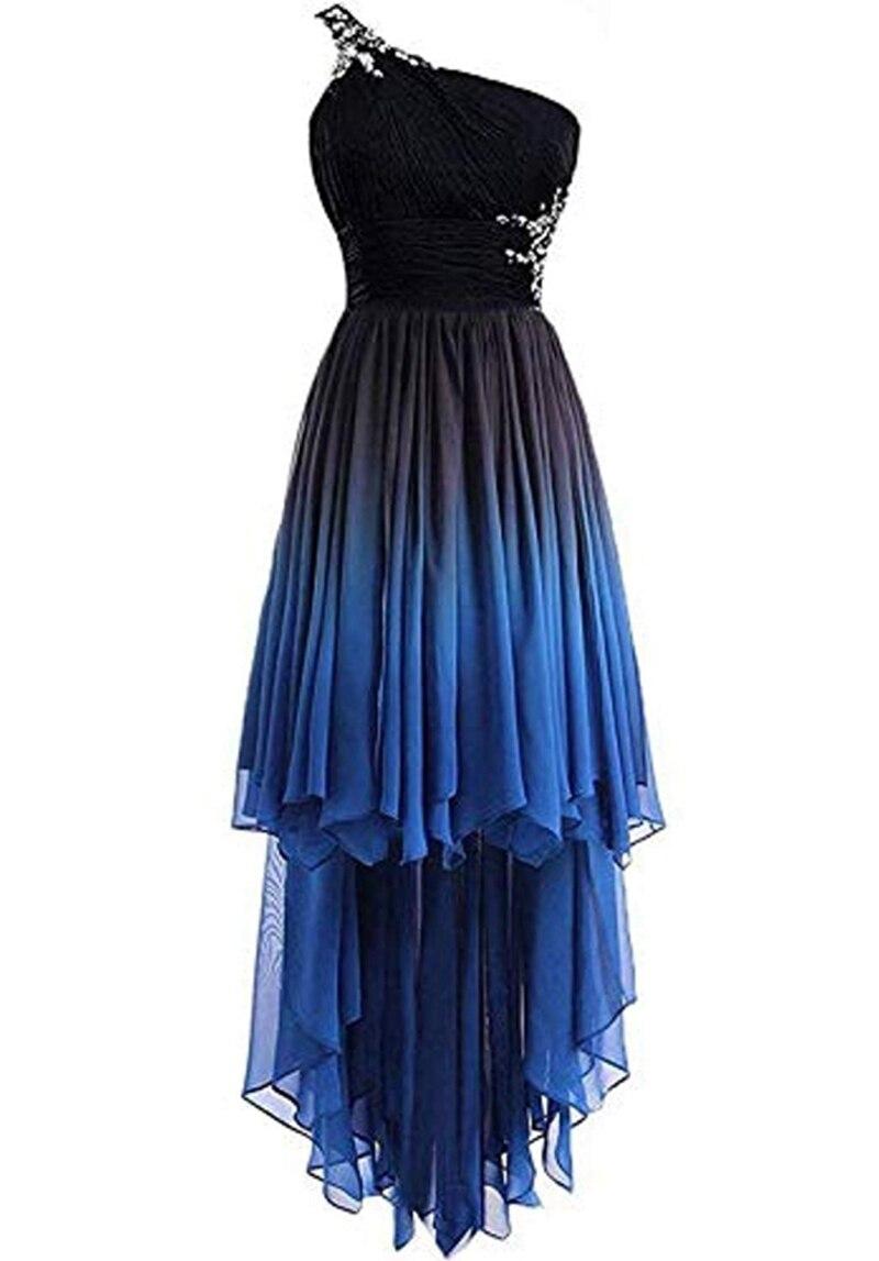 Bleu grande taille robes de bal 2019 une ligne haute basse perles cristal vestidos de gala en mousseline de soie Cocktail fête formelle élégante robes de bal