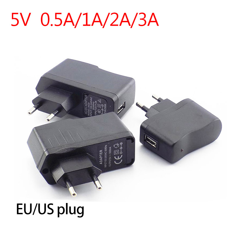 <font><b>USB</b></font> Port DC <font><b>5V</b></font> 0.5A/1A/2A/3A 1000ma AC to DC Power plug <font><b>Adapter</b></font> supply Charger <font><b>micro</b></font> Charging For LED Strip Lights phone US EU image