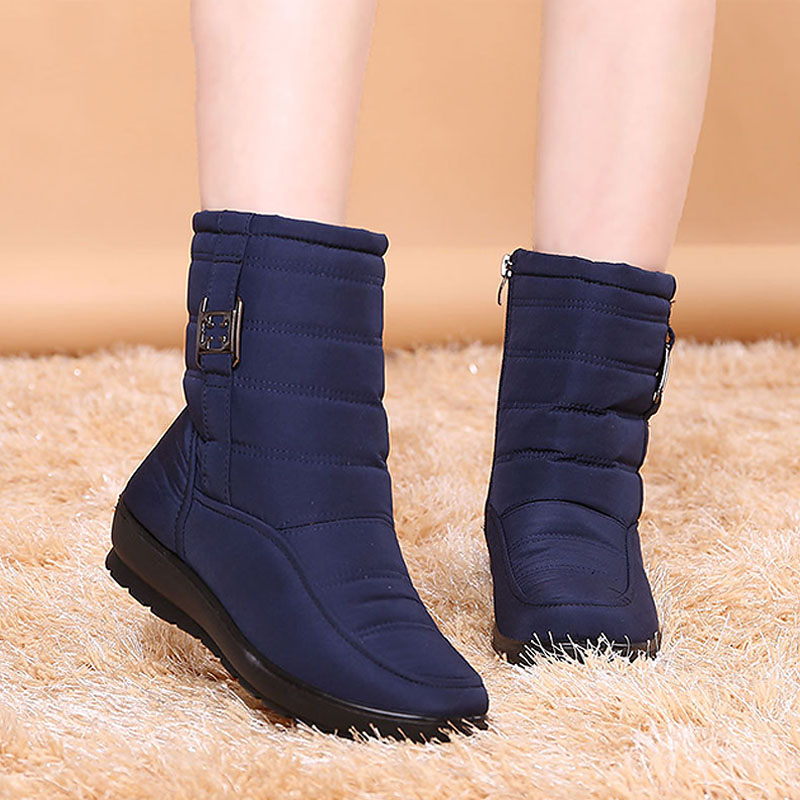 Winter Snow Boots Waterproof Warm Women Shoes Wedge Platform Boots Female Zipper Casual Shoes Plush Basic Mid-Calf Boots ABT1064 best selling top quality women hidden wedge winter warm snow boots plush inside platform round toe motorcycle boots shoes