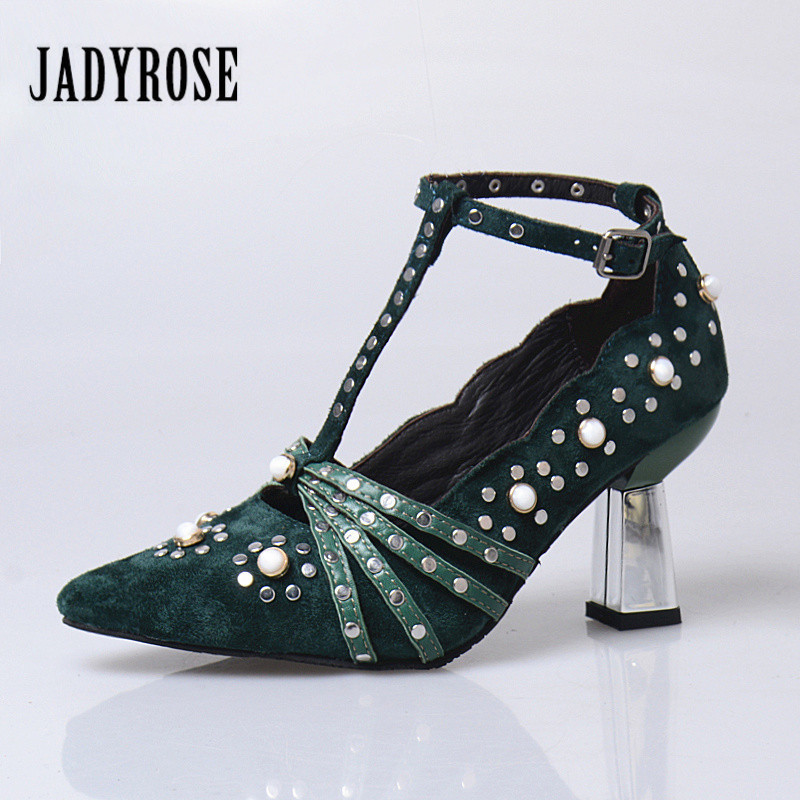 Jady Rose Green Suede Gladiator High Heel Shoes Woman Pointed Toe Rivets Studded Women Pumps T-Straps Stiletto Valentine Shoes jady rose suede women ankle boots fringed lace up high heel shoes woman rivets studded platform pumps valentine shoes