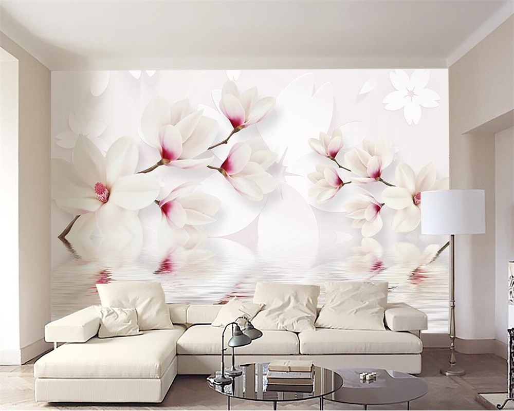 beibehang Custom wall murals wallpaper white magnolia flower 3D
