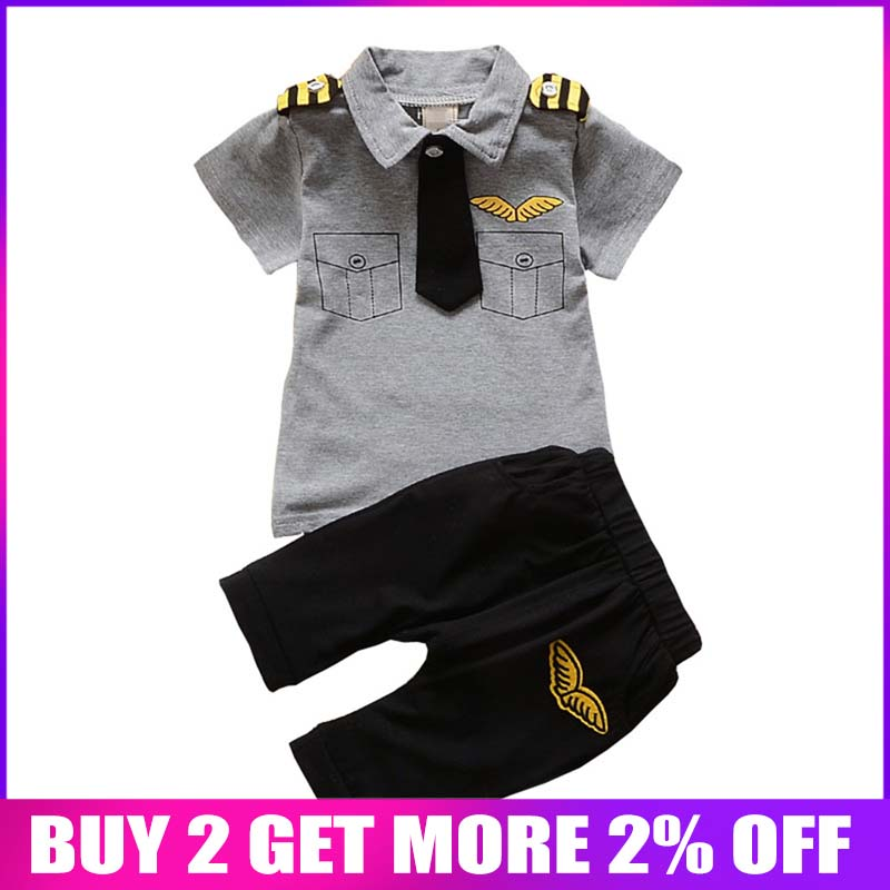 BibiCola Newborn baby boys Clothing Set Summer infant boy Pilot Clothes Cotton Kids Captain Costume Toddler military uniforms la palmyre zoo