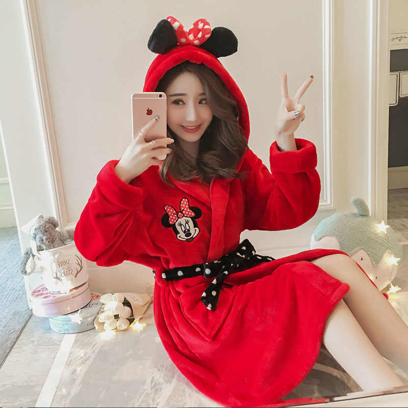 fed6d7d0b8 ... Winter Bathrobe Women Pajamas Bath Flannel Warm Robe Sleepwear Womens  Robes Coral Velvet Cartoon Lovely Nightgowns ...