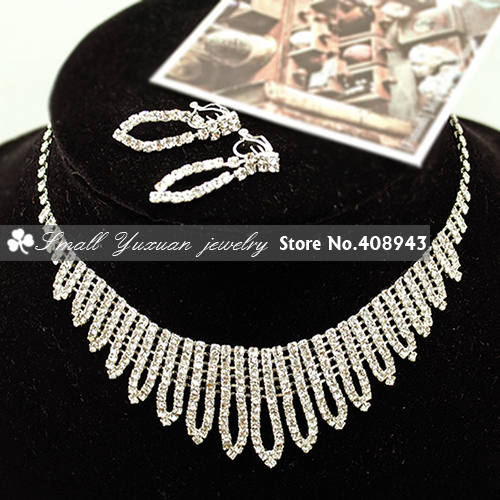Specially designed For children girl Bridal Wedding New Sliver Plated Rhinestone Crystal Necklace+Clip Earring Jewelry Set!XL266