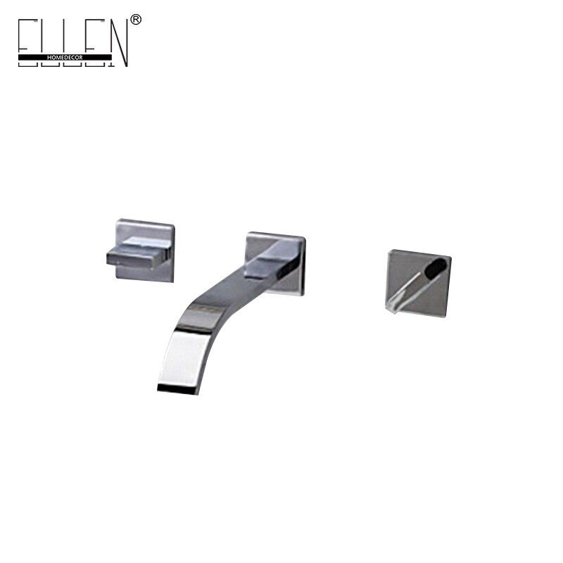 Настенный Saucet Двойная Ручка Смеситель для Ванная комната умывальник хром латунь сосуд 3 отверстие смесители полированная латунь ELT01