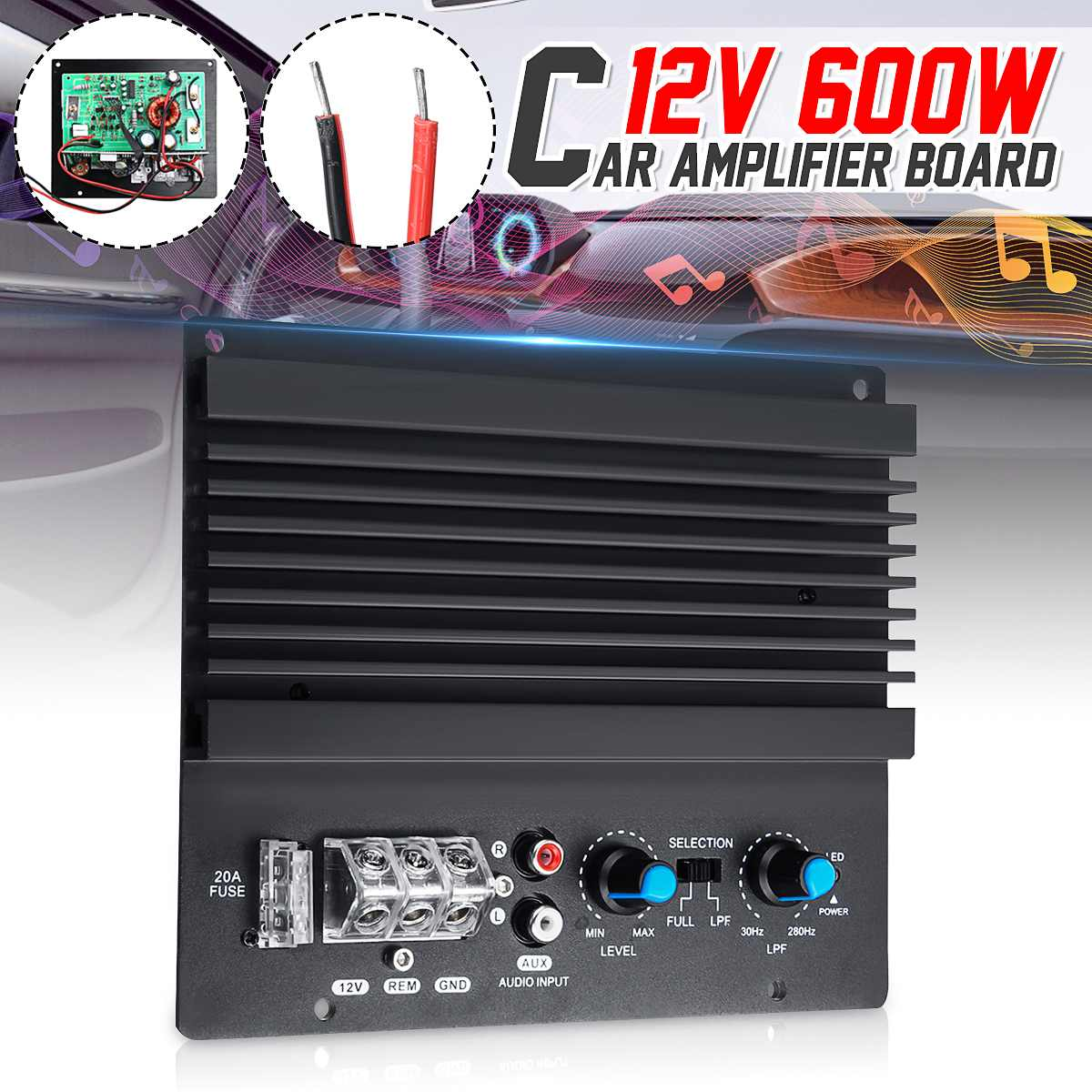 12V 600W High Power Car Audio Amplifier Subwoofer Amplifier Board Mono Amp Board Automotive Amplifier Module