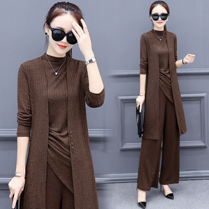 Image 2 - New Spring Knitted 3 Piece Set Women Plus Size Tracksuit Long Cardigan And Vest Tops And Wide Leg Pants Suit Womens Sets 2020