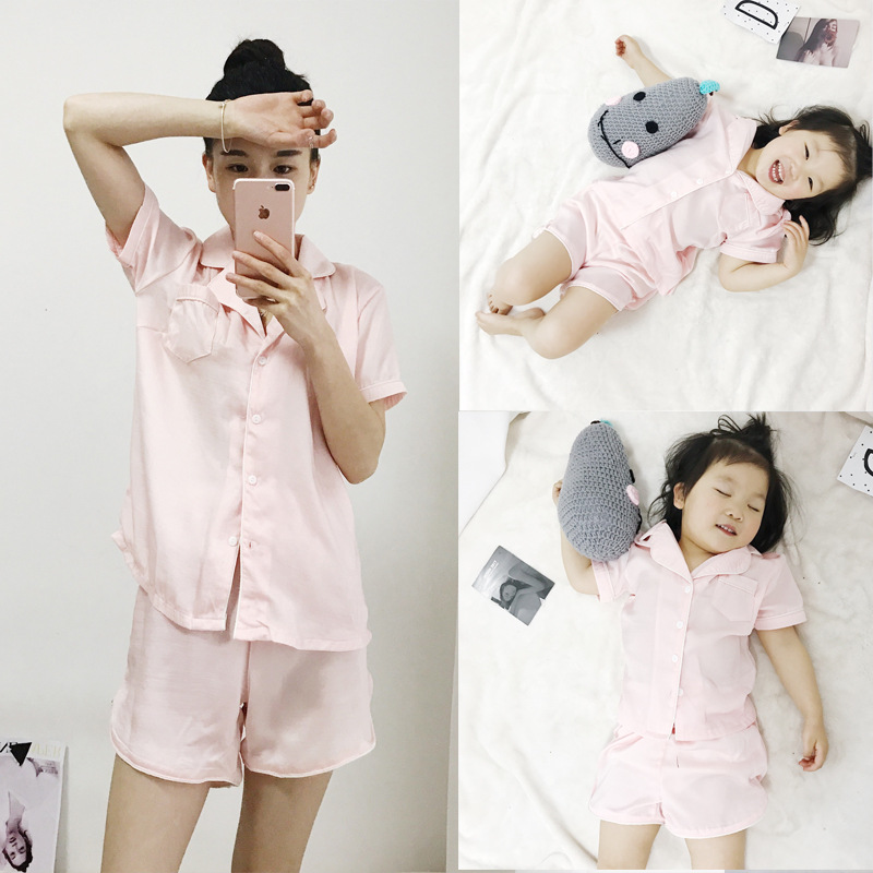 2pieces/set In Stock Family look matching clothing sets CLASS A Silk fabrics matching mother daughter son pajamas sets clothes
