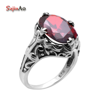 Szjinao Wholesale Sterling Silver Jewelry Fashion High Quality Garnet 925 Sterling Silver Rings for Women