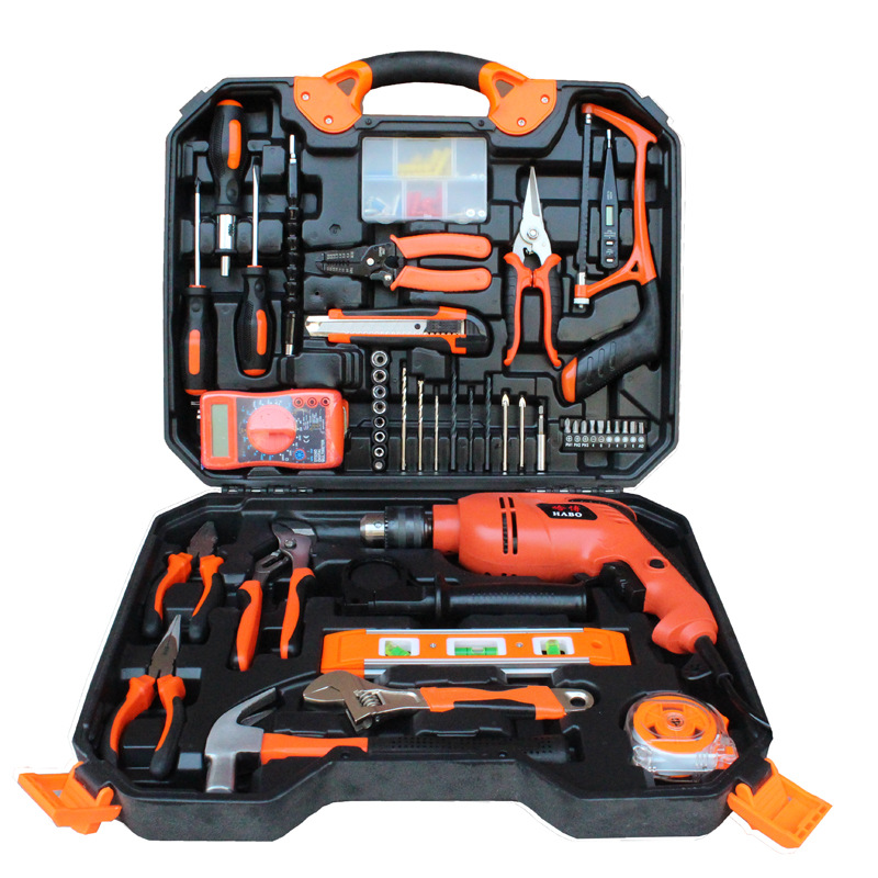 Urijk 120Pcs Woodworking Electric Hardware Tools Set Electric Drill Household Toolbox Electrician Repair Combination Set sata 21pcs hardware hand tools household toolbox set of family 21 combination set pdy06501