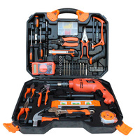 Urijk 120Pcs Woodworking Electric Hardware Tools Set Electric Drill Household Toolbox Electrician Repair Combination Set
