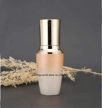 30ML glass bottle with golkd press pump&lid for lotion/emulsion/serum/foundation/skin care refillable cosmetic packing