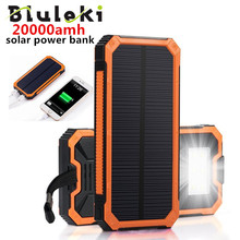 Bluleki Solar Pover bank Mobile Phone Power Bank Portable External Sun Charger Cellphone Battery Powerbank 20000mah Universal