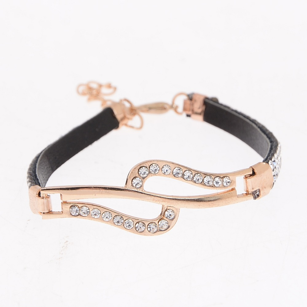 Fashion Simple Charm Leather Rose Gold Color Crystal Rhinestone Bracelet Bangle For Women High Quality Jewelry Gift