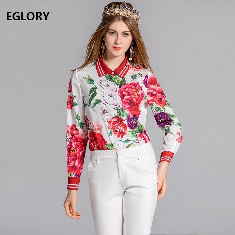 Haute qualité en mousseline de soie Blouse 2018 automne décontracté dame Rose fleur imprimer chemise à manches longues femmes grande taille Blouse chemise Femininos