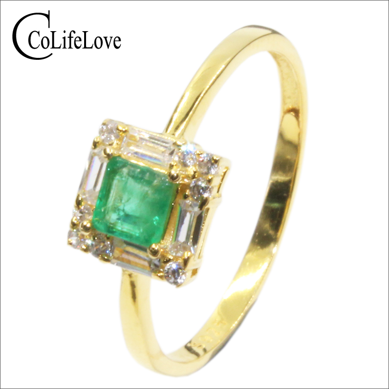 Royal design silver emerald ring 4mm*4mm Princess Cut natural Columbia emerald Solid 925 silver emerald wedding ring for woman
