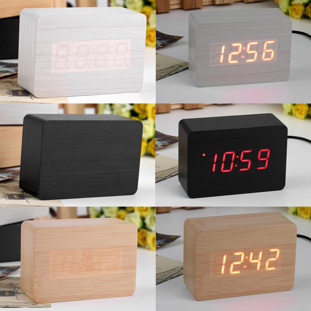 1Pc Mini Modern Red LED Display Temperature Digital Wood Wooden Alarm Clock Brand New