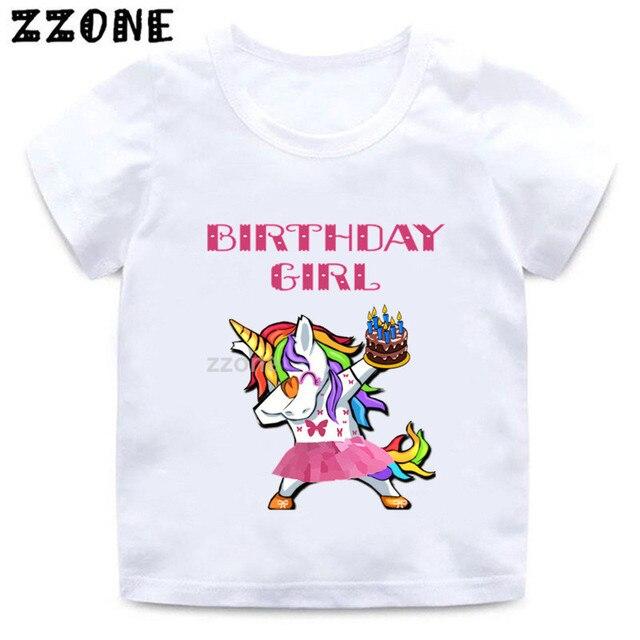 Kids Unicorn Cartoon T Shirt Girls Happy Birthday Number 1 11 Print