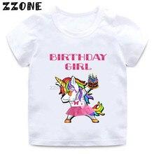 Niños unicornio dibujos animados camiseta chicas Feliz cumpleaños número 1-11 impresión camiseta bebé cumpleaños presente ropa divertida, HKP5250