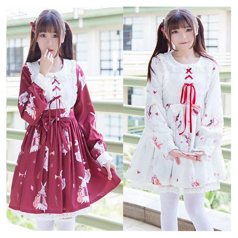 Lolita Dress Japanese Sweet Kawaii Princess Dress Girls Vintage Gothic Style Cosplay Costume Maid White Red Printed Lace Costume