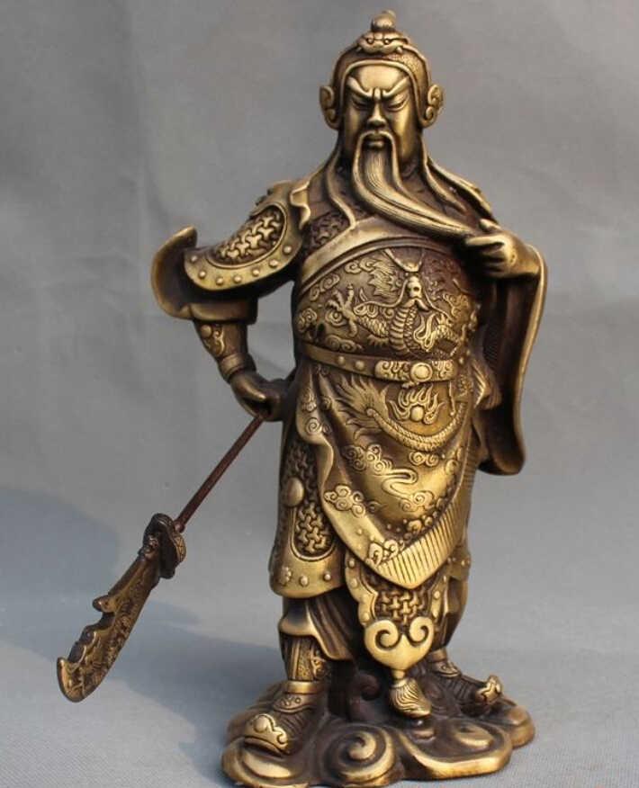 "WBY --- 607 + + + 10 ""Старый Китай Китайский Бронзовый народная Дракон Beast Гуань Юй Гуань Гун Бог Ножи статуя"