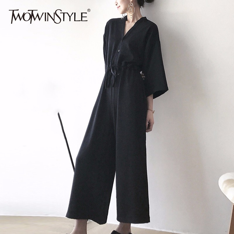 TWOTWINSTYLE Draw String Jumpsuits For Women V Neck Three Quarter Sleeve High Waist Black Long Trouser Spring Fashion OL Clothes
