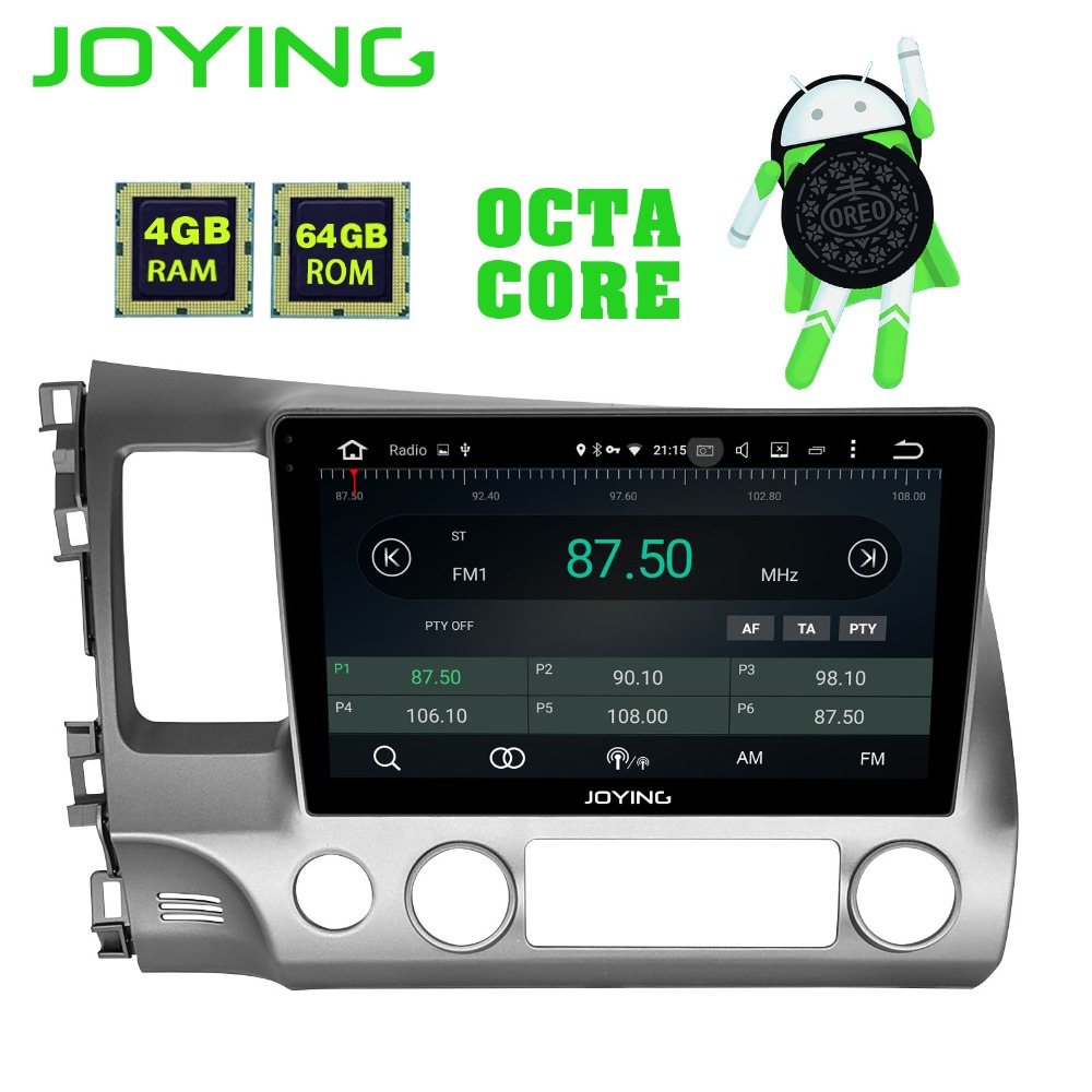 JOYING android 8.1 voiture autoradio radio gps stéréo pour Honda civic 2006-2011 avec Carplay Android auto IPS DSP octa Cores 4 gb RAM
