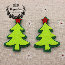 10pcs lovely non woven fabric christmas tree applique patches diy craft decoration3855cm - Christmas Tree Applique