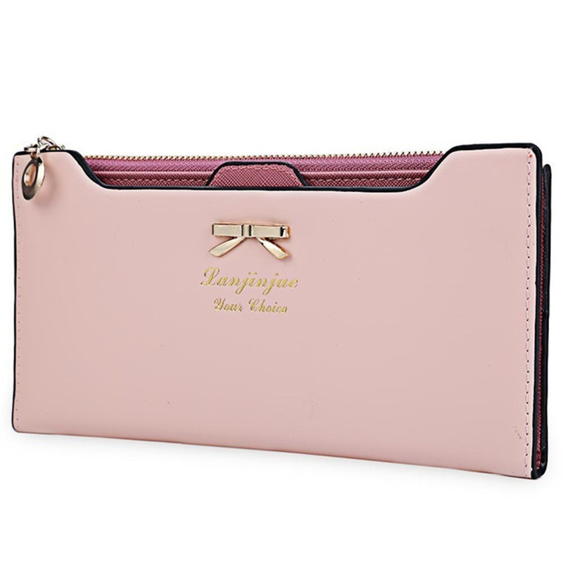 Women Purse Long Bow Wallets Candy Color Wallet PU Thin Card Holders Purse Female Carteira Feminina Portefeuille Femme F16 candy leather clutch bag women long wallets famous brands ladies coin purse wallet female card phone holders carteira feminina