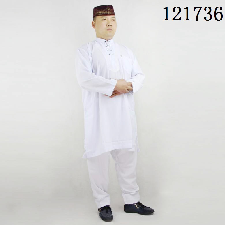 A021 Linen Cotton Two pcs one set Embroidery Button Men Thobe two line Button Zipper Pocket in front white Men Abaya