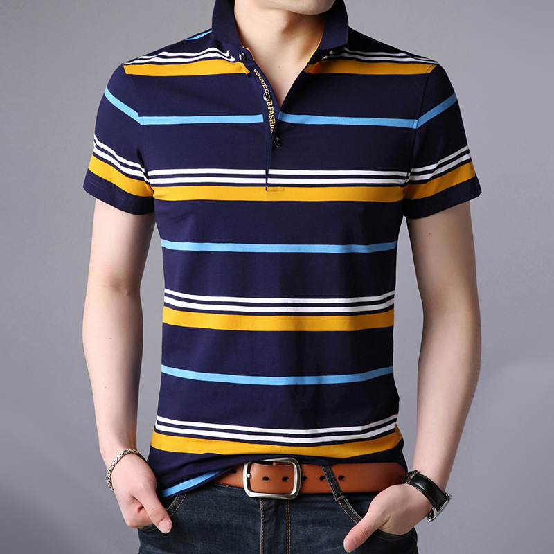 Men Polo Shirt 2019 New Summer Business Casual Breathable Striped Short Sleeve Clothes