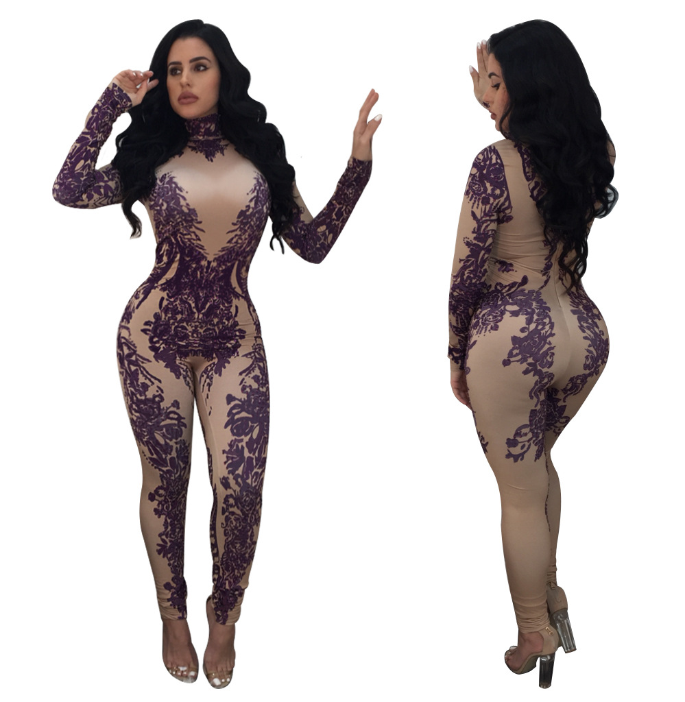 Bodysuit Women Catsuit Plus Size Jumpsuits And Rompers For Women Limited New Jumpsuit 2018 Autumn Winter Sexy Print Pants