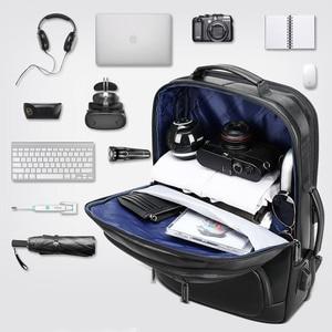 Image 4 - BOPAI mochila de piel auténtica para hombre, morral para ordenador portátil de 15,6 pulgadas, puerto de carga USB, para negocios, para viaje