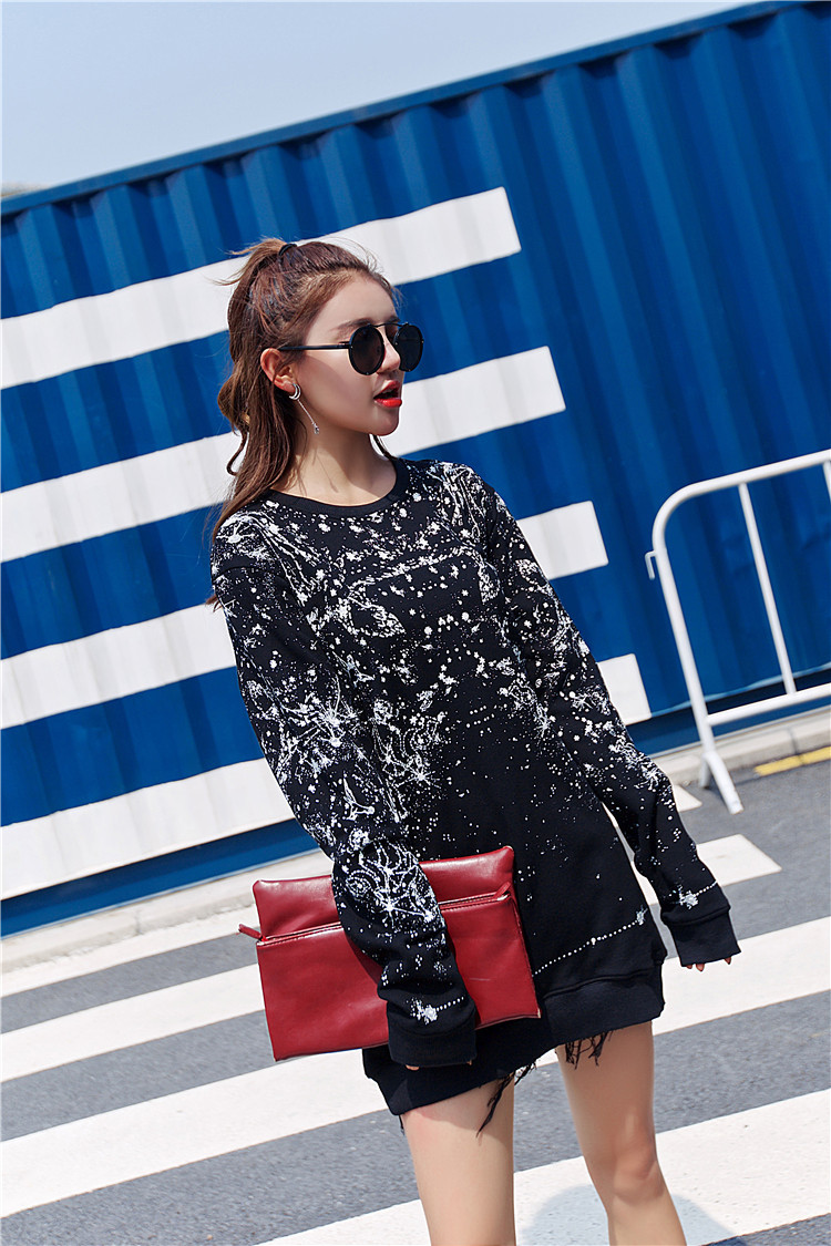 Stars Oversize Sweatshirt Hoodie Sexemara Fashion afvqnH
