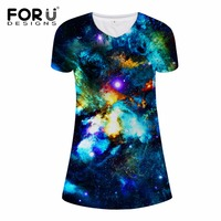 FORUDESIGNS 3D Galaxy Space Printed Women V Neck Dresses Fashion Slim Fit Female Breathable Casual Dress