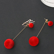 Red Black Fashion Plush Ball Drop Earrings For Women Korean Velvet Round Tassel Long Dangle Earrings