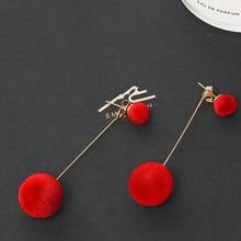 Red Black Fashion Plush Ball Drop Earrings For Women Korean Velvet Round Tassel Long Dangle Earrings Gift Jewelry Statement